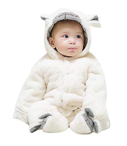 Unisex Baby Plüsch mit Kapuze Baumwolle Strampler 3D Tier Winter Overall All in One Schneeanzug Cartoon Onesie Verdicken Outfits Anzug