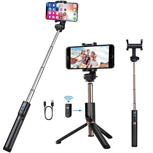Bluetooth Selfie Stick Stativ,Selfie-Stange mit Abnehmbarer Bluetooth-Fernauslöse für Samsung iPhone und alle Smartphones,3 in 1 Erweiterbar Monopod Mini Pocket Wireless SelfieStick 360° Rotation Wireless Remote Pocket