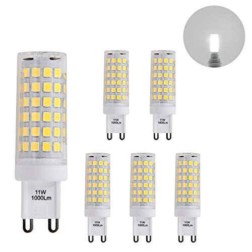 Petite Lampes Ampoules Mais a LED Culot G9 GU9 la Plus Brillante 11W 1000Lm Blanc Froid 6000K AC220-240V Plus Brillant que Ampoule Halogene 60W Lot de 6 de Enuotek