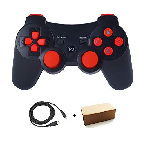 Kolopc Wireless Controller Gamepad Fernbedienung für PS3 Playstation 3 Double Shock - Bündel mit USB-Ladekabel (schwarz-orange) 2 Packungen (Controller Navigation Ps3)