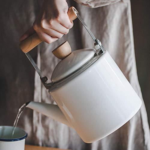 Emaille-Topf Classic Japanischen Stil Topf Emaille Wasserkocher Kaffeekanne Blumentopf Elektromagnetischen Ofen Allgemeinen Blumentopf Induktionsherd @ Light_White