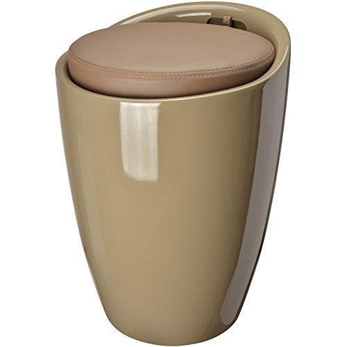 Pouf Pop tabouret et coffre de rangement Taupe ABS La chaise longue 35-2M-013