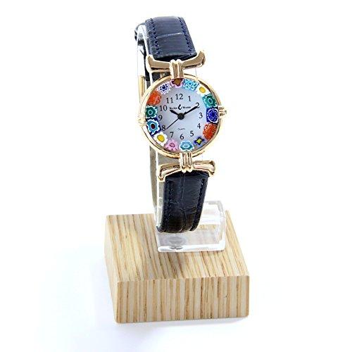 vinciprova die Edelsteine von Venedig Armbanduhr Damen Edelstahl vergoldet Leder Watch aus Glas Murano-Glas Millefiori -
