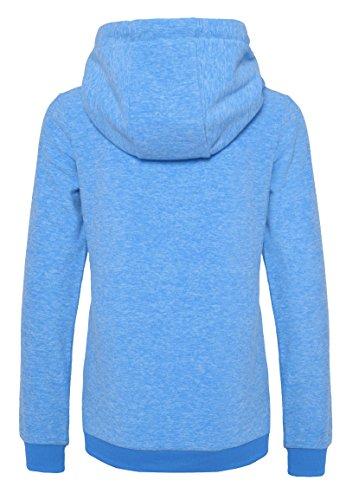 SUBLEVEL Damen Micro-Fleecejacke | Kapuzenpulli | Kuschelig Warmer Fleece-Hoodie in Blau & Rot Light-Blue