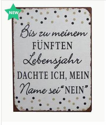 """Lafinesse - Schild - Metallschild - """"Bis zu meinem fünften Lebensjahr dachte ich, mein Name sei """"nein"""" - Vintage Look 35 x 26,5 cm"""