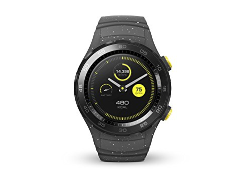 HUAWEI WATCH 2 (Bluetooth) Smartwatch mit grauem Sportarmband (NFC, Bluetooth, WLAN, Android Wear™ 2.0) grau