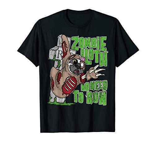 Zombie Faultier muss nicht laufen Halloween  T-Shirt