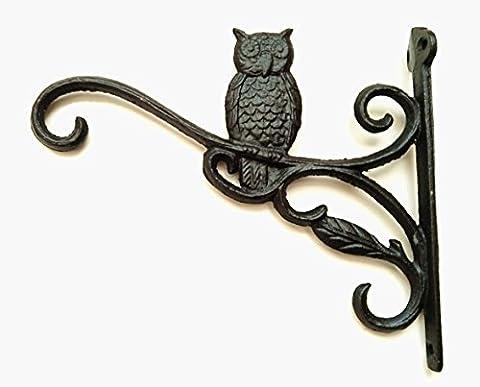 Cast Iron Ornate Owl Hanging Flower Basket Bracket Hook (design 3 - black)