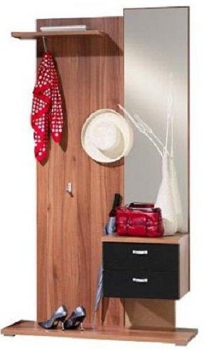 Unbekannt Garderobenset Spiegel Garderobe walnuss schwarz - (595)