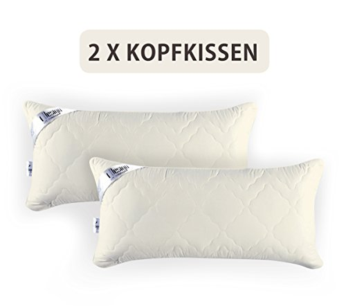 Angebot DOPPELPACK: 2x Sei Design® Premium Mikrofaser Kopfkissen Aphrodite. Füllung aus 3-D Faserkügelchen - sehr weich und angenehm - Stützkraft regulierbar durch Reißverschluss. (40x80, champagner)