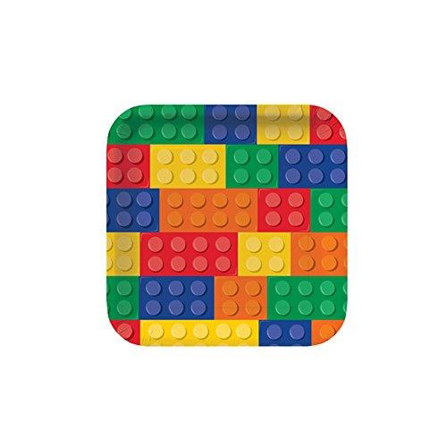 creative-party-piatti-con-mattoncini-per-costruzioni-confezione-da-8-taglia-unica-multicolore