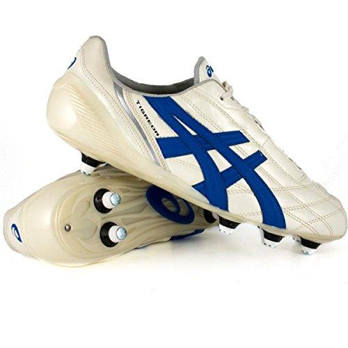 Asics Tigreor It, Scarpe per Allenamento Calcio Uomo Bianco Panna - Blu Turchese