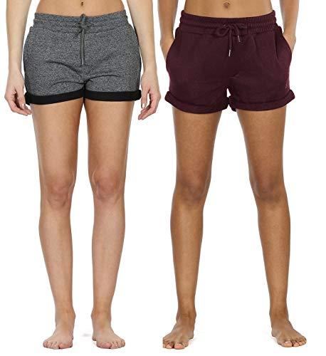 icyzone Damen Sweatshorts 2er Pack Kurze Sporthose Gym Fitness Shorts (M,Charcoal/Wine)