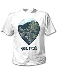 teesquare1st Machu Picchu Llama Peru Camiseta Blanca para Hombre de Algodon