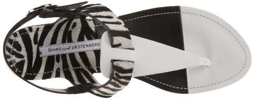 Diane Von Furstenberg Darling Femmes Cuir Tongs White-Zebra- Black