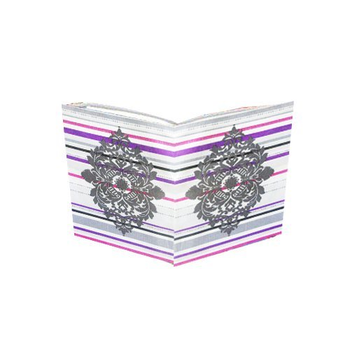jumbo-fabric-stretchable-book-cover-white-with-pink-and-purple-stripe-and-a-large-crest-pattern-can-
