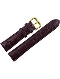 uyoung 18mm grano de piel de cocodrilo de piel auténtica hombre marrón dorado cierre reloj banda
