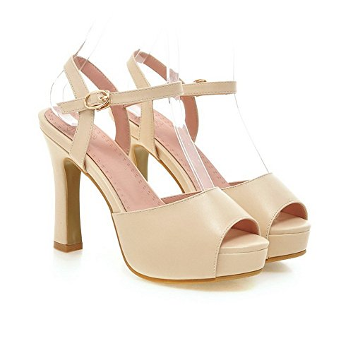 Adee Mesdames Boucle High-Heels polyuréthane Sandales abricot