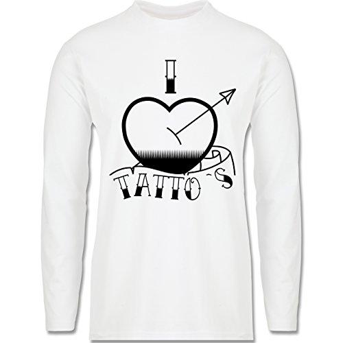 I love - I love Tattoos - Longsleeve / langärmeliges T-Shirt für Herren Weiß