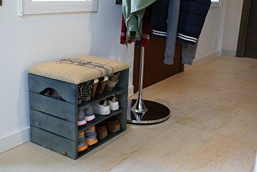 Liza mueble zapatero de madera azul petr leo recibidor for Recibidor con banco zapatero