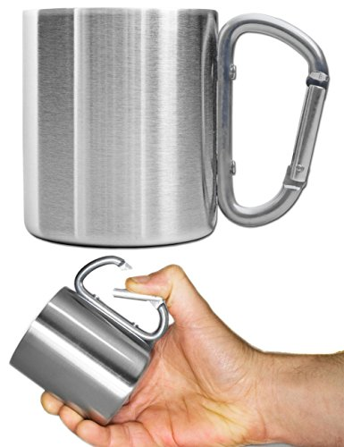 OUTDOOR SAXX® - Outdoor Becher, Camping Tasse | kompakt leicht 180 ml mit geschraubtem Karabiner-Griff Edelstahl | für Wandern, Trekking, Arbeit