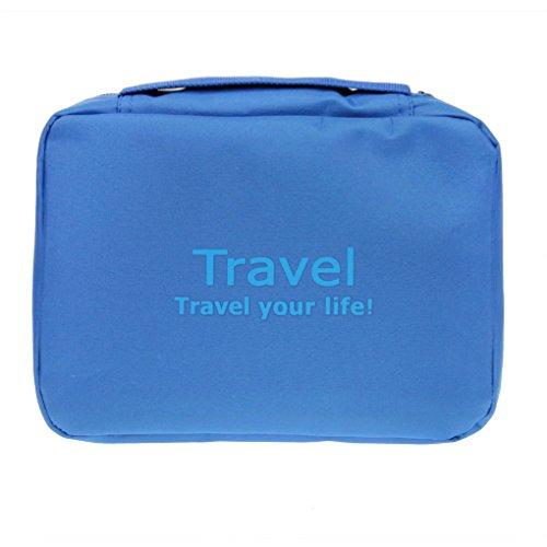 Bao Core Trousse de Toilette Portable Imperméable Sac de Rangement Voyage Sac Grand Format avec la Fermeture Zippée - Bleu