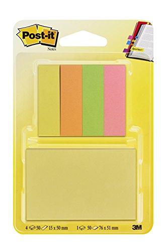 Post-it 6710WPM Notes Set–Notas adhesivas (76x 51mm, 1bloque à 50hojas), color amarillo, (15x 50mm, 4bloques à 50hojas marcapáginas) Amarillo/Naranja/Verde/Rosa