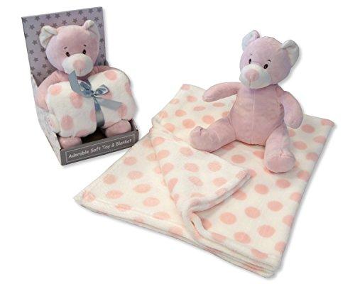 Bébé Fille Rose doux Ours en peluche et couverture A POIS - Livré dans une boîte cadeau de