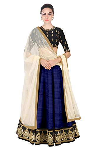 Vastra Fashion Women's Banglory Silk Embroidered Semi-Stitched Nevy Blue Color Lehenga Choli