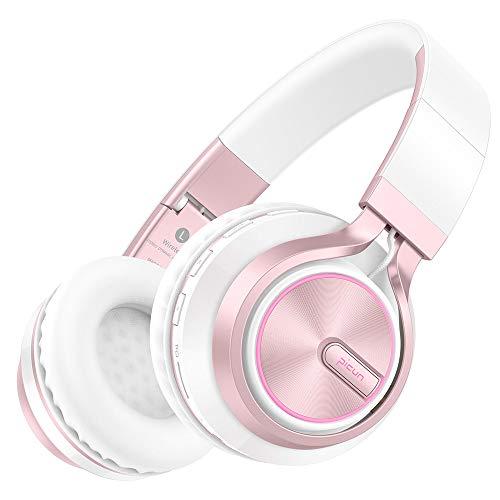 Picun Bluetooth Kopfhörer Kabellos LED Lampe 7 Farben Over Ear Wireless Headset, 20 Std Spielzeit, HD Mikrofon/TF Karte Slot/3,5mm Audio AUX, Faltbares Kopfhörer für TV Tablets PC Handy - Weiße Rose