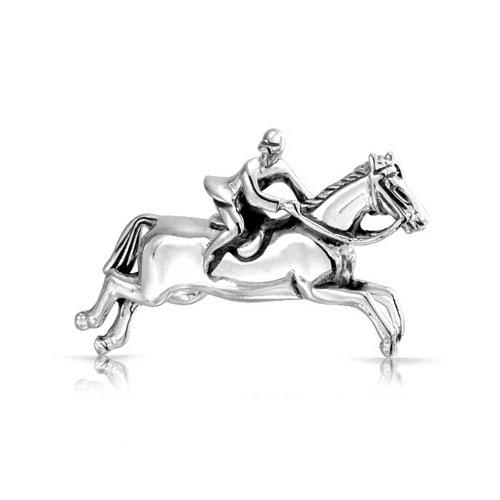 Pferdesport Reiten Springen Rassigen Pferden Brosche Pin Für Frauen 925 Sterling Silber Oxidiert