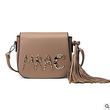 YJIUX Frauen Schultertasche PU All Seasons Casual Rechteck Zipper Khaki Rot khaki