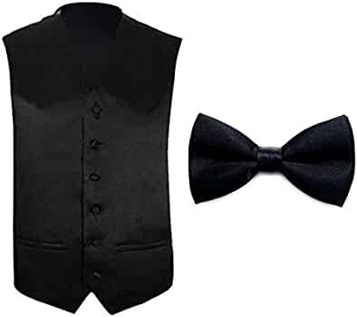 TOPTIE Tuxedo Wedding Dress Vest /& Bow Tie Set for Men BDCX-DQ54574