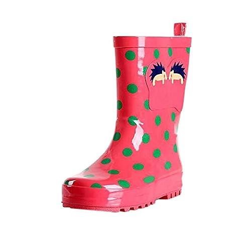 Deylaying Enfants Garçons Filles Mode Imperméable Bottes de Pluie Souple Caoutchouc Chaussures Enfants Slip-On Pluie Bottes Chaussures d'eau Botte de neige Bottes d'hiver