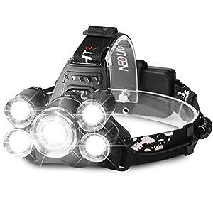 Luz Frontal Súper Brillante Linterna Frontal LED Recargable Impermeable 4 Modo de Linternas Frontales Para Espeleología/Pesca/Excursionismo/Caza(Batería incluido) H04 Negro