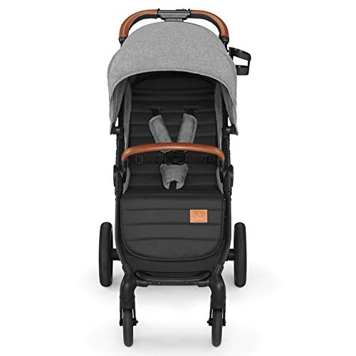 Kinderkraft Lightweight Stroller GRANDE 2020, Stylish Pushchair, Foldable, Lying position, All Wheels Suspension, Ajustable Hood, with Accessories, Rain Cover, from Birth to 3.5 Years, 0-15 kg, Gray