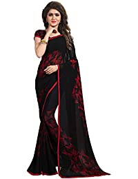 Kalaa Varsha Women's Faux Georgette Saree With Blouse Piece (5421_Black & Red)