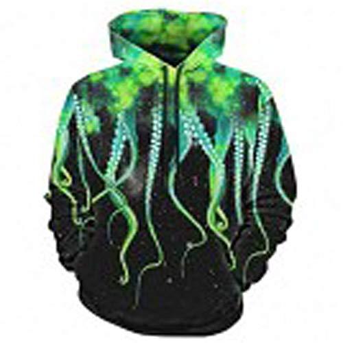 Herren Basic Langarm Hoodie Sportjacke Pullover Hoodie Sweatshirt,Meereslebewesen Farbe Octopus Pullover colour1 3XL