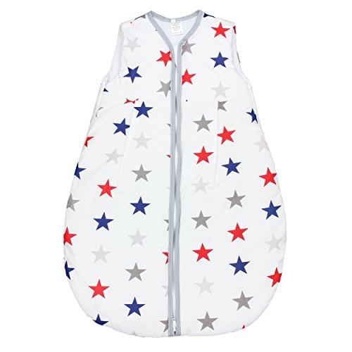 Baby Schlafsack Baumwolle Vierjahreszeiten Kinderschlafsack Wattierter Babyschlafsack ohne Ärmel Frühling Herbst Winter, Farbe: Sterne Blau/Rot, Größe: 92-98