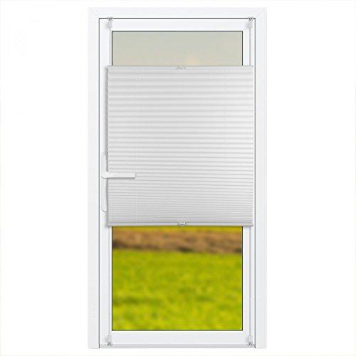 Klemmfix Plissee Jalousie für Balkontür mit Klemmträger :: Rollos für Türen ohne bohren 80x210 cm weiß