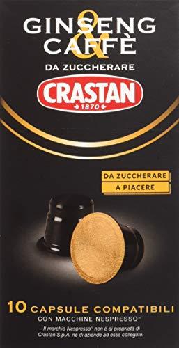 Crastan Capsule Compatibili Nespresso - Ginseng & Caffè da Zuccherare - 8 confezioni da 10 capsule [tot. 80 capsule]