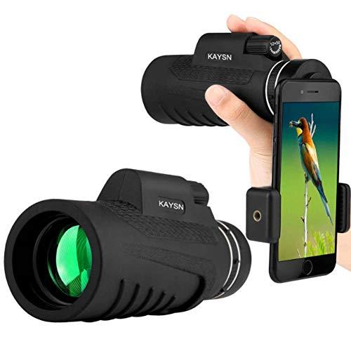 ADEKKPK Monokular Teleskop, 12X50 HD Low Light Night Vision Teleskop,Wasserdicht Fogproof Einzel-Hand-Fokus Monokular-Zielfernrohr, Mit Smartphone-Adapter,für