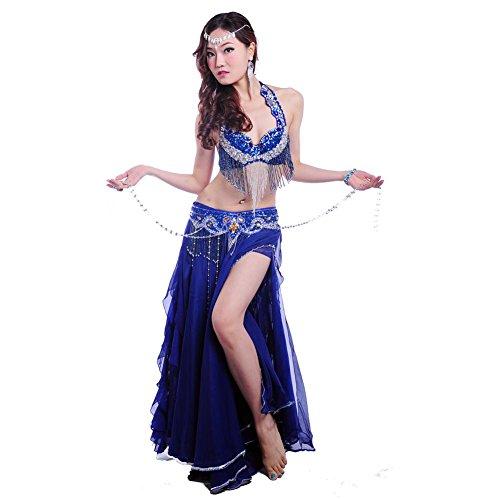 Wgwioo Dance costumes Bauch tanzen Performance Frau Handmade Diamant BH Rock quaste Welle gürtel modern trainieren kostüm deep Blue s