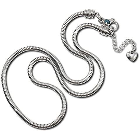 Timeline Treasures-Ciondolo in acciaio INOX chirurgico anallergico, con gioielli Pandora, chiusura a moschettone, 56 cm