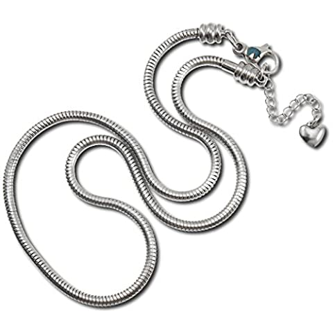 Timeline Treasures Charm Necklace For Women, Stainless Steel Snake Chain, Fits Pandora Charms, Lobster Claw Clasp, 56