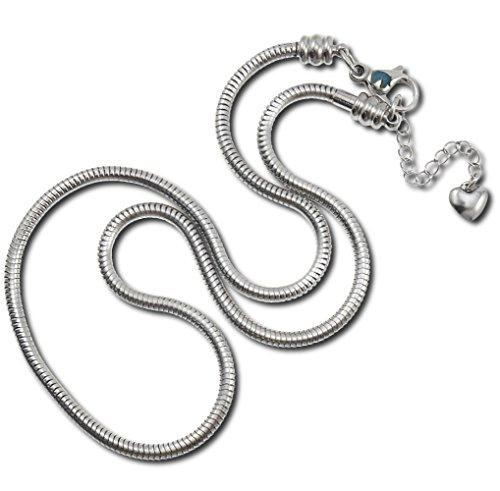 Timeline treasures fascino collana serpente per le donne, in acciaio inox, pandora, chiusura a moschettone, steel, 56 cm (22 inch)