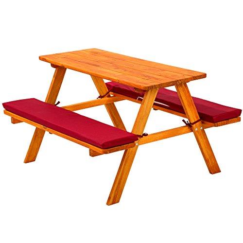 TecTake Kinderpicknickbank aus Holz mit 2 Polsterauflagen rot