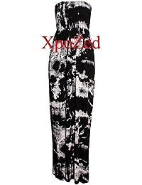 New Womens Printed Sheering Bandeau Boobtube Maxi Dress 8-26