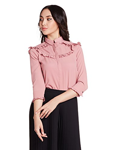 Symbol Women's Ruffled Blouse Shirt (AW17SYMWBL074_Peach_XS)