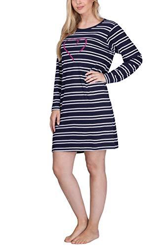 Moonline - Damen Nachthemd kurz Sleepshirt Nachtkleid, Gr.-40-42/Medium, Navy